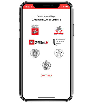 Immagine del telefono con l'home page della App