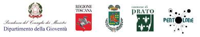 Loghi del Dipartimento della Giovent� - Presidenza del Consiglio dei Ministri, Regione Toscana, Provincia di Prato, Comune di Prato e Associazione Il Pentolone