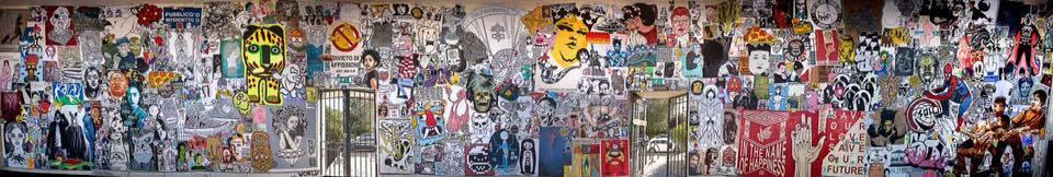"""""""La cappella sistina della poster art"""" realizzata durante il Word Wide Wall a Roma al Villaggio Globale"""