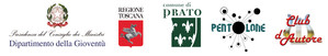 Loghi partner del progetto: Dipartimento della Gioventù, Regione Toscana, Comune di Prato, Il Pentolone e Club d'autore