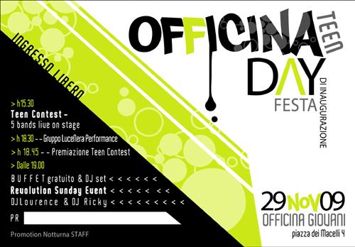 Volantino della festa di inaugurazione di Offina Teen il 29/11/09