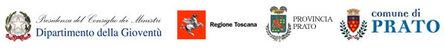 Loghi partner del progetto: Dipartimento della Gioventù, Regione Toscana, Provincia di Prato, Comune di Prato