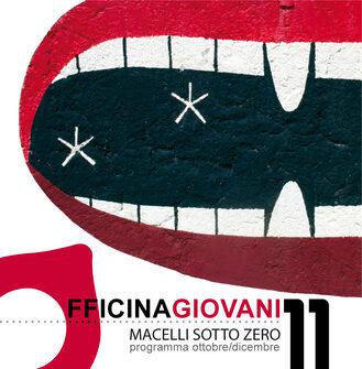 Immagine tratta dal flyer della rassegna Macelli sotto zero: sfondo bianco con bocca rossa e denti in primo piano